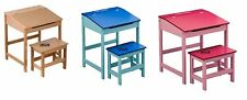 KIDS CHILDREN DESK AND STOOL SET BEDROOM PINK BLUE NATURAL WOODEN STUDY READING