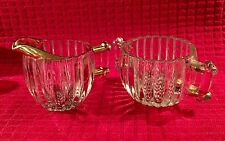 Jeannette National Crystal Creamer and Open Sugar Bowl Gold Trim