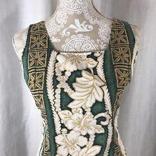Royal Creations Hawaiian Lei Shift Dress M Aloha Hibiscus Green Gold White USA