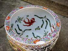 ANTIQUE HUGE CHINESE PORCELAIN FISH BOWL, GUANGXU MARK, 19TH CENTURY, NR.