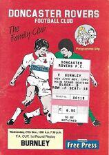 Football Programme plus Match Ticket>DONCASTER ROVERS v BURNLEY Nov 1991
