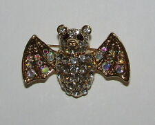 Bat Pin Gold Tone New Crystal Accents AB Wings Red Eyes Jewelry Halloween Brooch