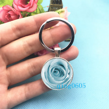 Blue Rose Art Photo Tibet Silver Keychains Rings Glass Cabochon Key chain -54