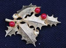 Vintage Signed DeNicola De Nicola Goldtone Red Glass HOLLY LEAVES Pin Brooch
