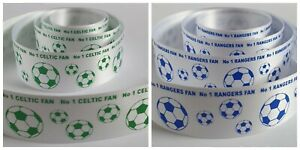 No 1 Football Fan Satin Ribbon Celtic and Rangers 25mm wide Cake Ribbon Craft