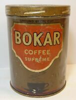 Old Vintage 1920s BOKAR COFFEE TIN GRAPHIC TALL 1 POUND CAN NEW YORK MADE IN USA