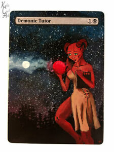 Demonic Tutor - Hand Painted MTG Alter - Magic - Kate Cart Art