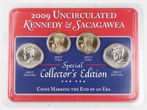 United States 2009 Sacagawea Dollar & Kennedy Half Dollar P & D 4 Coin Set GEM