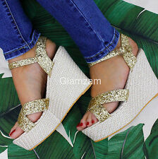 New Womens Ladies  Summer Gold Sparkly Glitter Strappy Wedge Heel Sandals Shoes