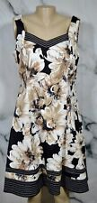 AGB DRESS Black Brown Ivory Floral Print Sleeveless Dress 14 Stitched Trim