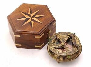 Captain Sundial Compass w/ Box Dollond London Sun Clock/Sundial Compass Camping