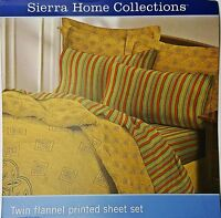 Twin Flannel Autumn Multi Striped Sheet Set 3pc Soft 100% Cotton New
