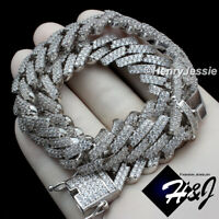 """16""""-30""""MEN 14K WHITE GOLD FINISH 14MM MIAMI CUBAN CURB LINK CHAIN NECKLACE*BN6"""