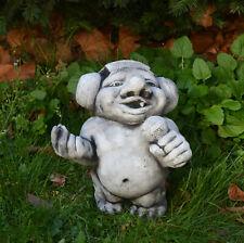 Massive Steinfigur lustiger Troll DJ rock mich! Wichtel Gnom Steinguss frostfest