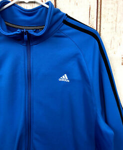 Adidas Blue w/Black Zip Up Track Jacket Warm Up Jacket Size XL A1672