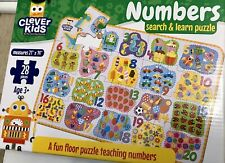 Clever Kids Numbers Search & Learn 28 Piece Floor Puzzle Educational Fun New