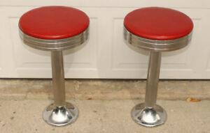 Pair Duro Chrome vintage diner ice cream parlor stools, 1950's vintage, red seat