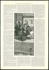 1889  Antique Print - FINE ART Man Woman and Child on Station (370)