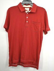 Billy Reid Mens Pensacola Polo Pearl Buttons Heirloom Ribbon Short Sleeve M $88