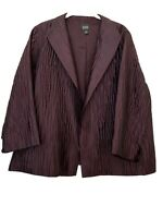 Eileen Fisher Large Purple Maroon Raisinette Open Front Textured Silk Jacket