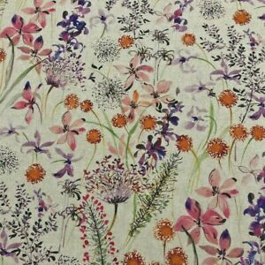 The Meadow in Pink French Linen Cotton Upholstery Curtain Blind Fabric per Meter