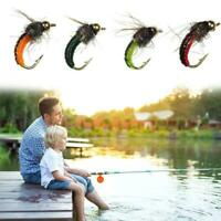 6PCS BrassBead Head Scud Fly Bug Worm Nymph Artificial Insect Bait Lure B5N F6K1