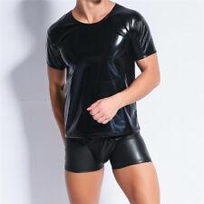 Herren Kunstleder Wetlook Kurzarm Muskelshirt Rundhals Tank Top T-shirt Clubwear