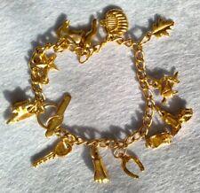 Vintage Charm Bracelet - gold filled ? Good Luck, Superstition Charms