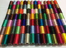 100 X Grande Art RAYÓN DE SEDA 100% bordado Hilos de coser colores vibrantes sólido
