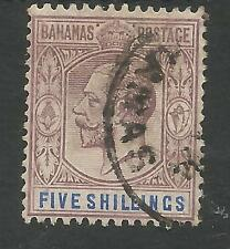 BAHAMAS SG88 THE 1912-19 GV 5/- DULL PURPLE AND BLUE FINE USED CAT £70