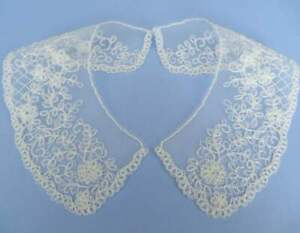 Small cornelli embroidered lace collars ivory on tulle net