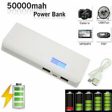 New 50000mAh Power Bank LCD LED Dual USB External Battery Charger For iPhone X 8