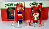 Vintage L'il Chimers Crystal Glass Bell CHRISTMAS ORNAMENT Santa and Toy Soldier