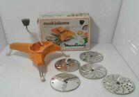 Vtg Moulinex Mouli-Julienne Slicer # 445 Shredder with 5 Disks  Made in France