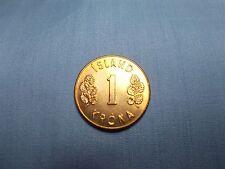"1971 Iceland 1 Krona Coin ""UNC""  KM#12a  Has original toning  Comp. Nickel/Brass"