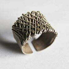 Tribe Pure Silver Us=8 Uk=P,Adjustable Handmade Woven Ring Karen Hill