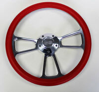 "Chevelle Nova Camaro Impala 14"" Steering Wheel Red and Billet SS Center Cap"