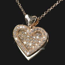 18k rose gold gf made with SWAROVSKI crystal heart filigree pendant necklace