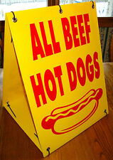 ALL BEEF HOT DOGS Sandwich Board Sign Kit NEW Concession Stand Cart ( 2-sided )