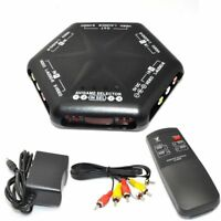 5 Way 4 in 1 out RCA Video Audio Game AV Switch Box Selector Remote AV666D Black