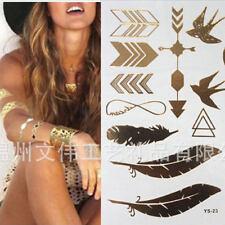 NWT! Trendy Metal Flash Tattoos Bird Feather Tribal Gold Temporary Tattoo Sheet