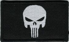 White Black Punisher Skull Morale Patch VELCRO® BRAND Hook Fastener Compatible