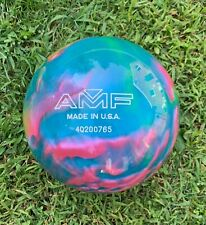 AMF XTREME Bowling Ball UNDRILLED  pink/green/blue 10.4lb tie dye effect