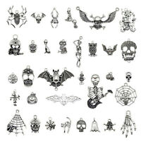 30PCS Mixed Lots Antique Silver Halloween Skull Charms Pendant Jewelry Findings
