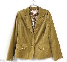 Old Navy Ladies Gold Stretch Cotton  Velour Blazer Jacket Sz L Large