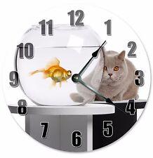 "GRAY CAT and GOLDFISH Bowl Clock - Large 10.5"" Wall Clock - 2187"