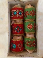 Felt and Sequin Napkin Holders Mid Century Handmade Vintage Box of 6