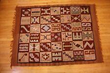A Wool Blanket Geometric Camp Vtg 64 x 45 Woven Antique Southwestern Tribal