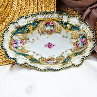 """Antique Heavy Gold Relief Nippon Oval Bowl Hand Painted Purple Roses 7.75"""""""