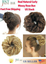 100%Premium Quality Natural Curly Messy Bun Hair Piece Scrunchie Hair Extension